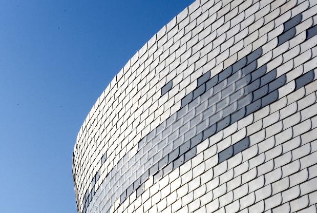 "UPM Profi-composite on Finnish pavilion ""Giant's Kettle""."