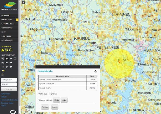 Biomassa-atlas verkkopalvelun karttakuva.