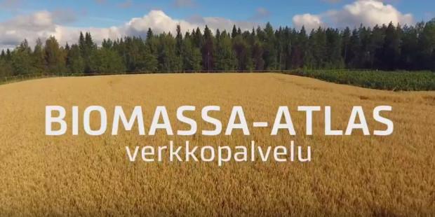 Peltomaisema, jossa päällä teksti Biomassa-atlas verkkopalvelu.