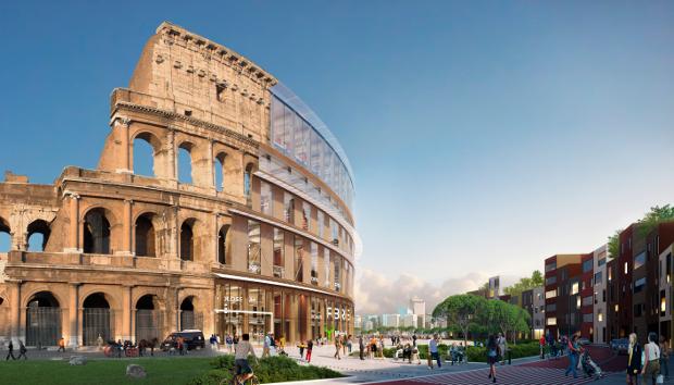 Rooman Kolosseum johon havainnollistettu puinen vaihtoehto.