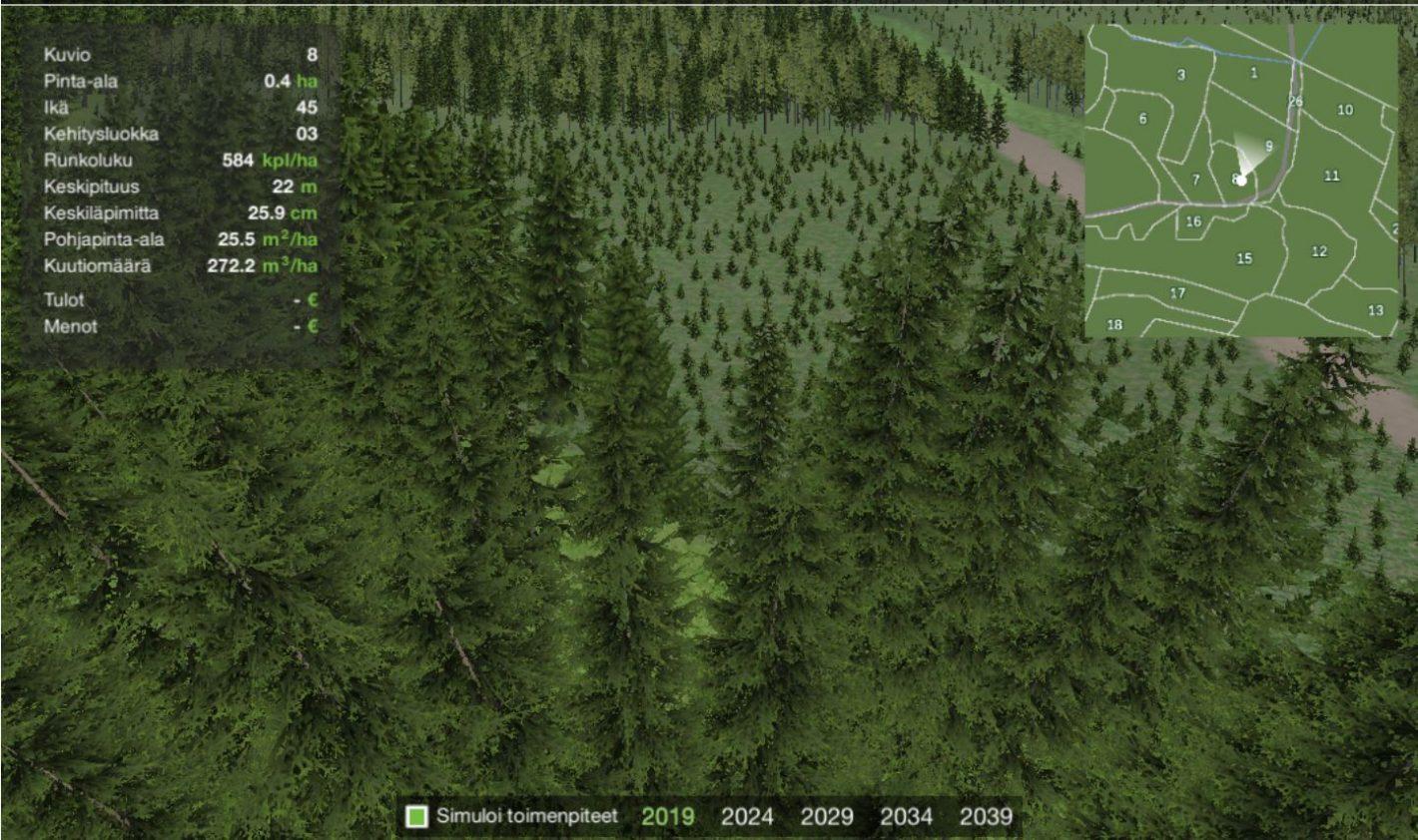 Virtuaalimetsä-sovelluksen metsää.