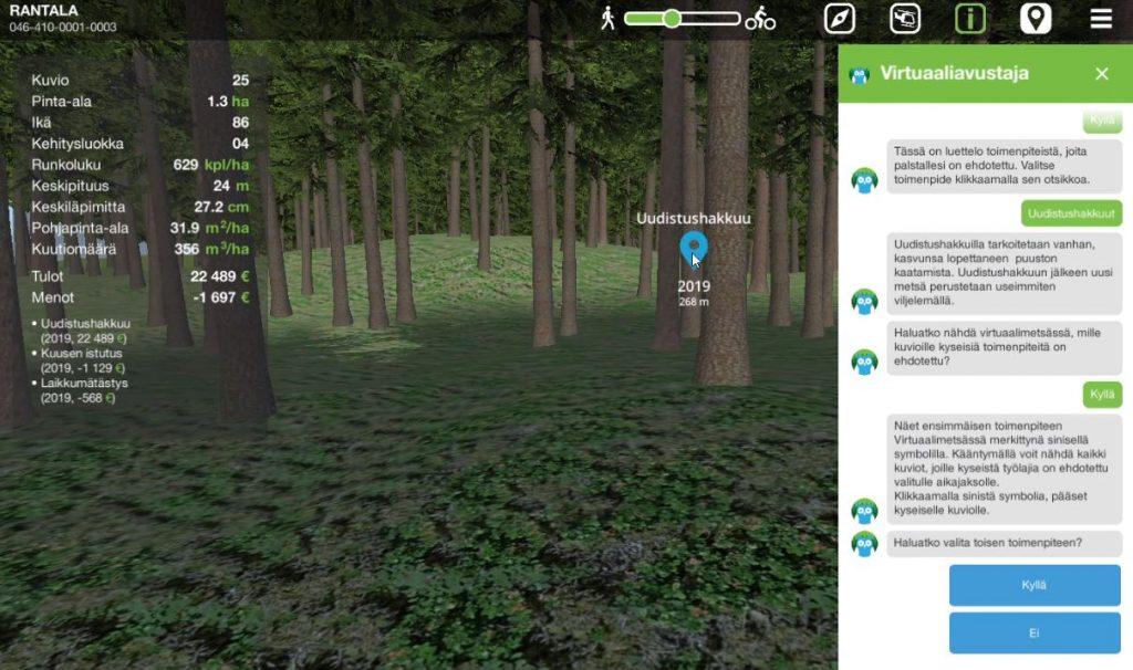 Virtuaalimetsän virtuaaliavustaja lukee ohjeet ja vinkit myös ääneen.