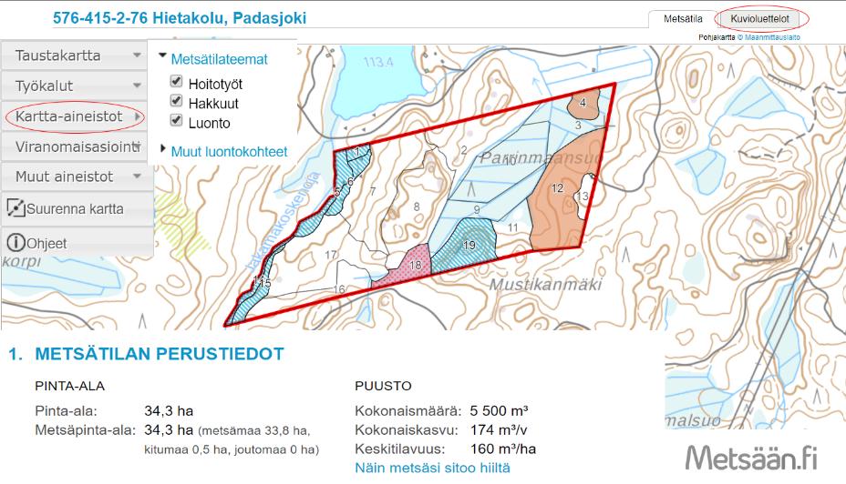 Metsään.fi-palvelun oletusnäkymä, jossa näkyy metsätilan perustiedot ja kartta