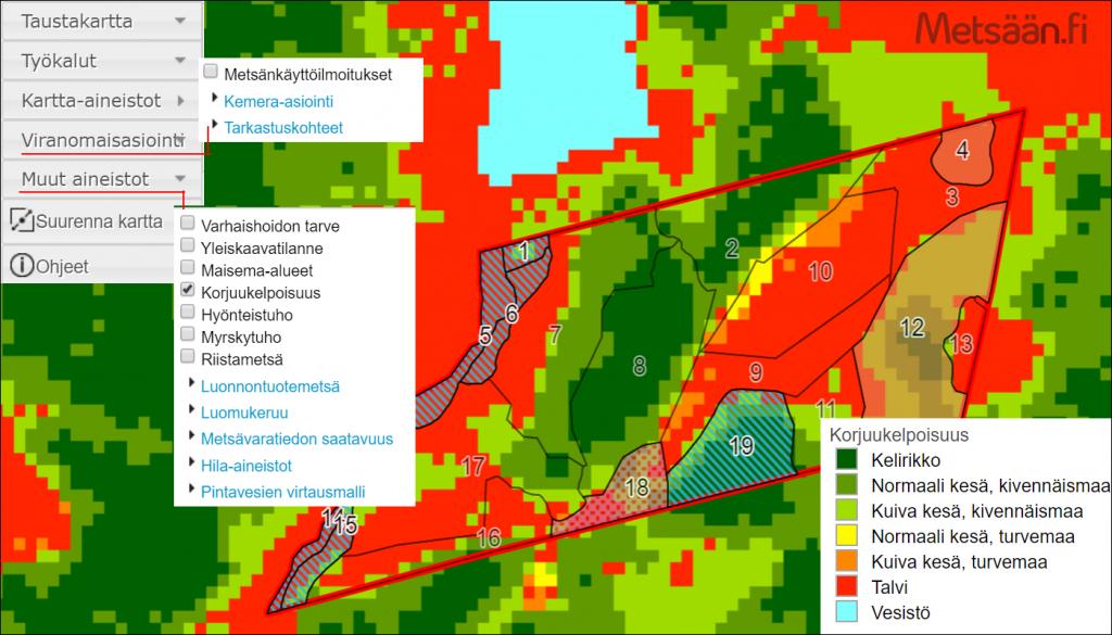 Metsään.fi-palvelun tilakartta, jonka karttakuvassa näkyy metsä- ja ympäristötietoja.