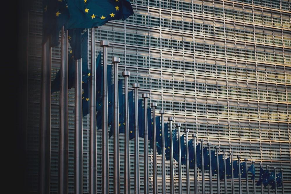 Euroopan unionin lippuja rivissä rakennuksen edessä.